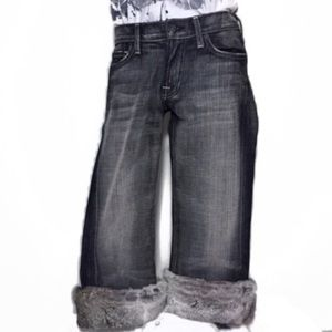 7 for All Mankind Gray Black Fur Cuff Jeans 28 6